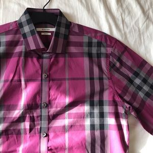 Shirts - ROXFORD MAGENTA PLAID DRESS SHIRT BUTTON-DOWN